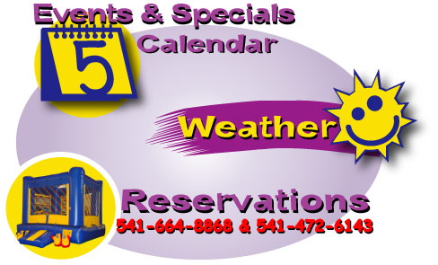 Events and Specials, Weather, Reservations